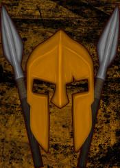 spartan 300 movie poster helmet spear fighter painting artwork warrior