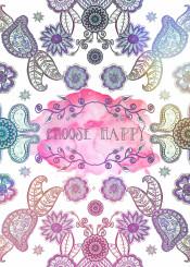 flower native mandala paisley pink blue purple hippie boho choachella typo words happy quote water