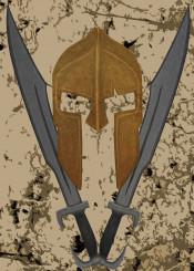 spartan 300 movie fanart painting sword helmet warrior fighter poster