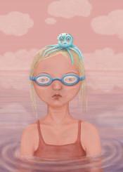 girl people portrait octopus water ocean sea animal