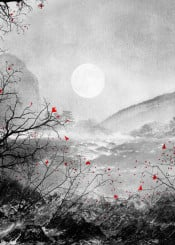 landscape illustration nature moon red