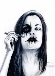 zombie rust ink girl makeup black metal corpsepaint dark music goth gothic satan