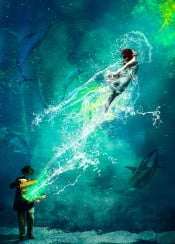 water ocean sea dolphins whale man woman splatter under water surreal escape suit fly energy cool