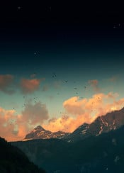 mountains alps evening snow birds stars surreal dark clouds sunset