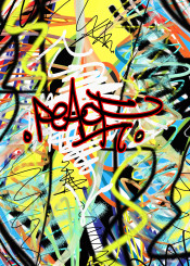 urban street abstract graffiti peace yellow red purple blue