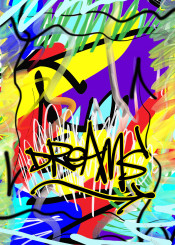 urban street abstract graffiti dreams yellow red purple blue