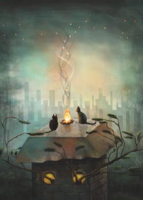 cats animals cityscape building fire bonfire smoke silhouette view trees