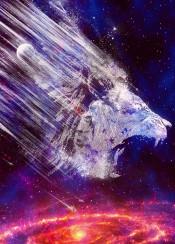 lion animal wild life space galaxy stars moon planets cosmic hunter cool space nebula spiral energy