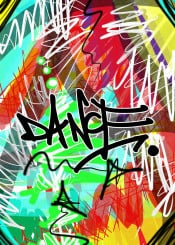 street art urban graffiti dance abstract green yellow dancing red hip hop rap retro breakdance