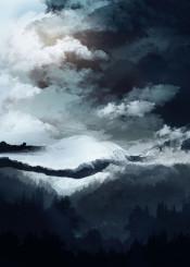 mountains winter landscape illustration