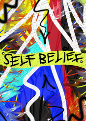 urban graffiti abstract street self belief believe blue red yellow digital art