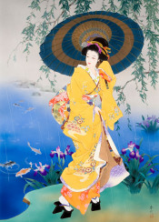 haruyo morita flowers geisha japanese japan asian traditional painting woman female