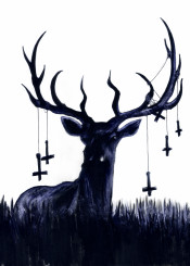atrocity exhibition zombie rust ink dark black crosses deer goth gothic animal satan evil