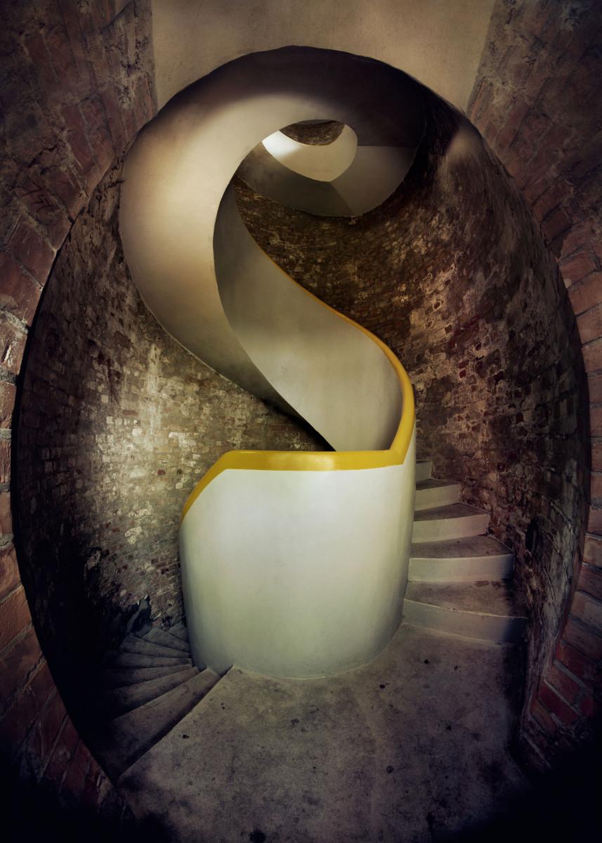 Spiral stairs in the brick tower 122507