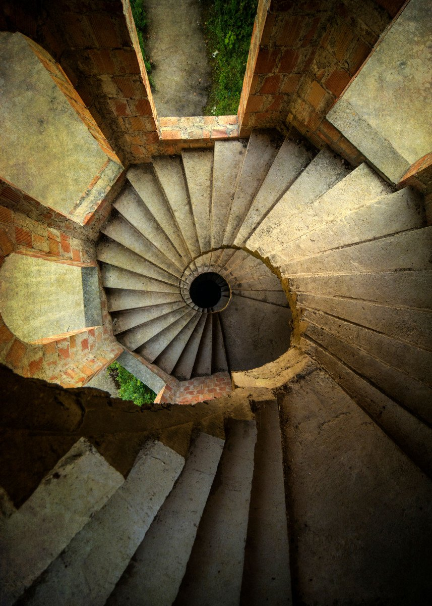 Spiral stairs in the old tower 122519