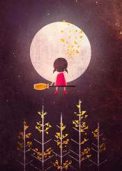 moon kid child girl broom trees night leaves stars cute fantasy magical