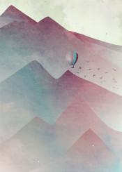 mountains air balloon birds sky journey travel traveller voyage fog mist