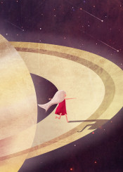 saturn planet solar system stars outer space kid girl child fantasy magical cute