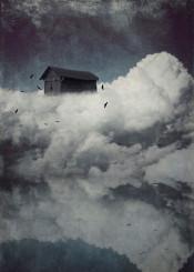 surreal cloudscape clouds cabin birds sky reflection textures vintage