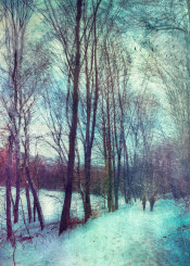 winter cold textures painterly people silhouettes blue trees birds blur