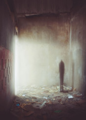 alone afraid shadow creature light dark apocalyptic fear black atmospheric wood