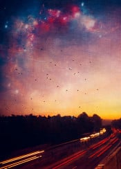 dreamy lighttrails autobahn highway colours stars sky birds textures silhouettes landscape traffic f