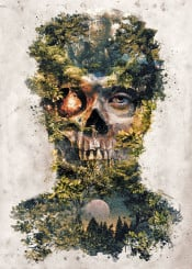 surreal surrealism horror skull evil dark forest nature fire nature zombie face fantasy magic hell