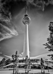 berlin germany television tower sight landmark black white monochrome dynamic classic decorative sky