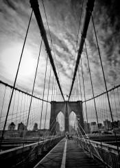 new york city brooklyn bridge wide angle usa cityscape rope steel sky sun urban black white landmark
