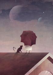 moon cat night kid child umbrella stars sky science fantasy cute magical digital