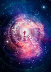 space clock time sacred signs man black hole galaxy stars geometry cool traveller universe spiritual