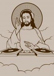 jesus christ god religion religious heaven turntables dj music clubs dance dancing wwdjjd funny
