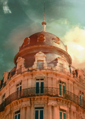 montpellier france color photo vintage architecture french building old antique city sky windows