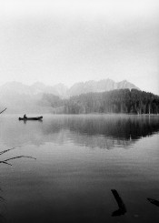 canoeing black white landscape lake kitzbuehel austria indian summer autumn water mountain