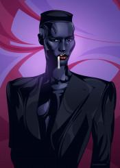 grace jones model actress vector illustration portrait