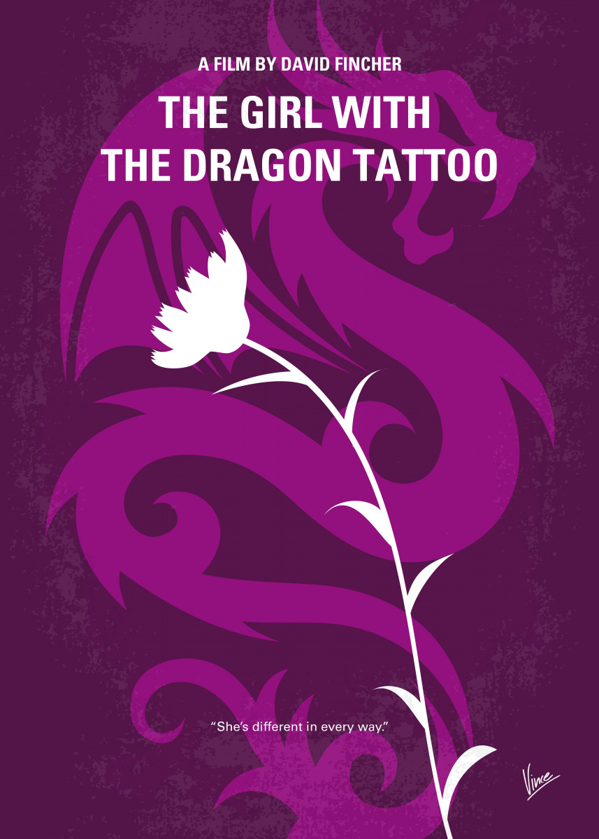 No528 My The Girl with the Dragon Tattoo minimal movie poster Journal