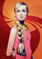 twiggy fashion model vector portrait poster