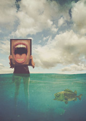 strange weird fish ocean sea surreal mouth girl sky clouds openmouth bubbles