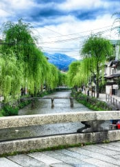 japan kyoto green river hdr photo