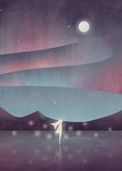 aurora northern lights girl mountains fantasy magical ice vector digital illustration borealis sky stars night