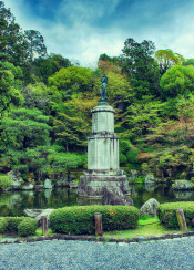 garden statue kyoto japan hdr beautiful