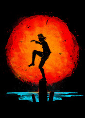 karate karatekid danielsan miyagi mrmiyagi miyagisan martialarts martial kick crane cranekick silhouette minimal watercolo painting painterly sun asian japanese japan ocean sea fight training minimalism minimalistic 80s retro film movie classic california beach nature asia