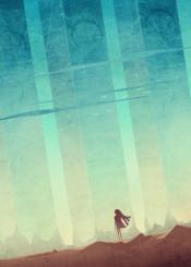pillars girl alien desert sky birds vector digital illustration