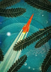 space trip collage stars retro interstellar scifi vintage old blue indigo ship sky rocket universe orange plants insect project green utopia textured intense colorful nostalgic novels moons planets prussian trail