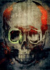 paint collage digital skull illustrative eerie horror drawing texture red black teeth bone mixed media