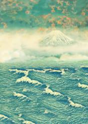 blue ocean sea waves clouds mist mountain fuji japan asian pink