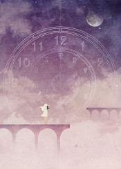 time portal lock bridge cloud sky stars night moon girl cat fantasy magical science fiction machine future past present