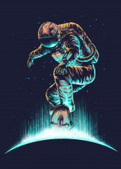 astronaut skateboard space moon stars