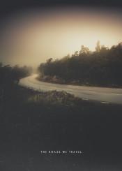 road free alone mountain wanderlust nature fog haze mist wanderer travel freedom solitude light dark