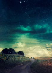 surreal people moody outdoors fields rural road clouds stars textures sunflowers
